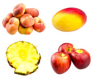 Fresh flat peaches, red apples, whole Mango fruit. And Pineapple juicy slices  isolated on white background Royalty Free Stock Photo