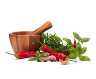Fresh flavoring herbs and spices in wooden mortar Stock Photo
