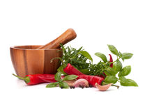 Fresh flavoring herbs and spices in wooden mortar Royalty Free Stock Images