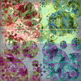 Fresh Floral Frenzy Shabby Background Stock Photos