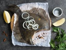 Fresh flounder fish. With onion, lemon, parsley, salt on a wooden board royalty free stock photography