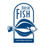 Fresh flounder retro symbol for fish market design. Fresh from the boat seafood icon for fish market label or waterfront cafe badge design usage with blue and Royalty Free Stock Photo