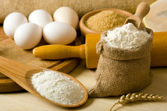 Fresh flour and eggs. Baking bread, ingredients for bread Stock Image