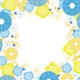 Fresh flower border. Blue flowers summer fresh vector frame Stock Photo