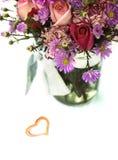 Fresh Flower Bouquet in a Glass Jar Stock Image