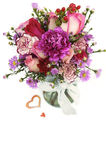 Fresh Flower Bouquet in a Glass Jar Royalty Free Stock Photography