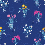Fresh flower bouquets seamless pattern background Royalty Free Stock Photos