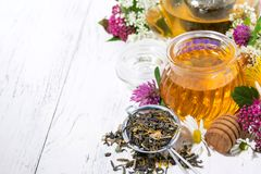 fresh flower honey, tea and ingredients on white background Stock Photo