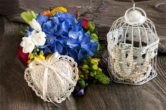 Fresh flowers and accessories for mothers day, Valentines Day, wedding Royalty Free Stock Photography