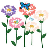 Fresh flowers with butterflies Royalty Free Stock Photo