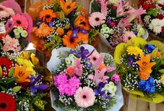 Fresh flowers at farmer market in France, Europe. Italian Spanish and French flowers. Street French market at Nice. Fresh food by local farmers. Fresh Royalty Free Stock Image