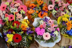 Fresh flowers at farmer market in France, Europe. Italian Spanish and French flowers. Street French market at Nice. Fresh food by local farmers. Fresh Stock Photo