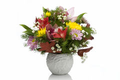 Fresh Flowers In A White Vase Royalty Free Stock Image