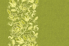 Fresh flowers and leaves vertical seamless pattern Royalty Free Stock Photo