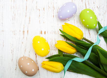 Fresh flowers tulips and easter eggs Royalty Free Stock Image