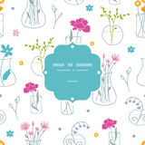 Fresh flowers in vases frame seamless pattern Stock Photography