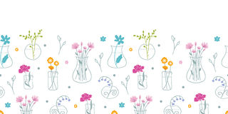 Fresh flowers in vases horizontal seamless pattern background Stock Photo