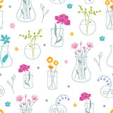 Fresh flowers in vases seamless pattern background Stock Photography