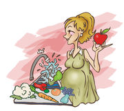 Fresh Food. Illustration showing a pregnant woman washing fresh fruits and vegetables Royalty Free Stock Photo