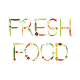Fresh Food. Vegetable selection spelling the words fresh food, over white background Stock Photos