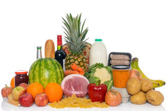 Fresh food arrangement of groceries isolated