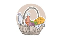 Fresh food in basket. Natural food for farmers market. Hand drawn vector illustration. Stock Images