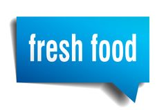 Fresh food blue 3d speech bubble. Fresh food blue 3d square isolated speech bubble Royalty Free Stock Image