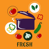 Fresh food concept depicting pan with vegetables Royalty Free Stock Images