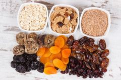 Food containing natural vitamins and dietary fiber, healthy nutrition concept. Fresh food containing vitamins and dietary fiber, natural sources of minerals Royalty Free Stock Image