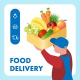 Fresh Food Delivery Service Web Banner Template. Delivery Man Flat Character Holding Box with Fruits, Vegetables. Products Transportation Logistics Typography vector illustration