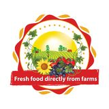 Fresh food directly from farms - printable advertising sticker / label. Try the short food supply chain. Always fresh, tasty and healthy. - local food Stock Photo