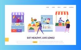 Fresh Food Farmer Organic Market Concept Landing Page. Man Customer Character Choose Vegetable Fruit Fish Seafood Website. Or Web Page. Healthy Ecomarket Flat royalty free illustration