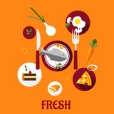 Fresh food flat design. With a set of colorful vector icons depicting cake, vegetables, fried eggs, pizza and sliced bread surrounding a central plate of fish Royalty Free Stock Photo