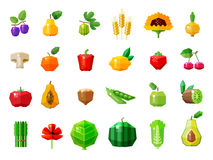 Fresh food. fruits and vegetables set icons Stock Photography