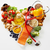 Fresh food for a healthy heart concept Royalty Free Stock Photos