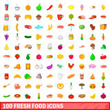 100 fresh food icons set, cartoon style Stock Photos