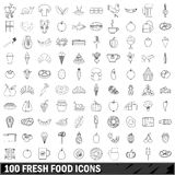 100 fresh food  icons set, outline style. 100 fresh food set in outline style for any design vector illustration Royalty Free Stock Photo