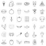 Fresh food icons set, outline style. Fresh food icons set. Outline style of 36 fresh food vector icons for web isolated on white background Royalty Free Stock Photos