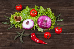 Fresh Food ingredients vegetables on the tabel. 2 Stock Images