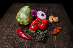 Fresh Food ingredients vegetables on the tabel. Stock Photography