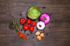 Fresh Food ingredients vegetables on the tabel. Royalty Free Stock Photos