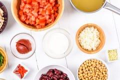 Fresh Food Ingredients On White Kitchen Table Royalty Free Stock Image