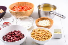 Fresh Food Ingredients On White Kitchen Table Stock Images