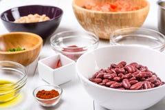 Fresh Food Ingredients On White Kitchen Table Stock Photos