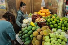 Fresh food market Cambodia. Fresh food vegetable fruit and other are sold at the Siem Reap market in Cambodia Royalty Free Stock Photography