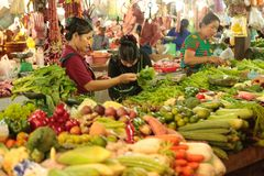 Fresh food market Cambodia. Fresh food vegetable fruit and other are sold at the Siem Reap market in Cambodia Stock Photo