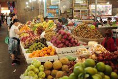 Fresh food market Cambodia. Fresh food vegetable fruit and other are sold at the Siem Reap market in Cambodia Royalty Free Stock Photos