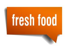 Fresh food orange 3d speech bubble. Fresh food orange 3d square isolated speech bubble Stock Photo