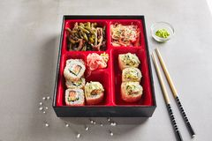 Fresh Food Portion in Japanese Bento Box royalty free stock photos