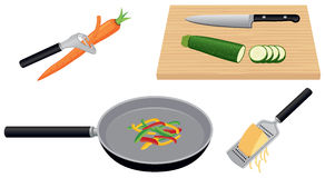 Fresh Food Preparation. Food preparation of fresh vegetables and cheese including peeling, slicing, sauteing, and grating. Food includes carrot, zucchini Royalty Free Stock Images